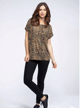 wide neck animal print short sleeve t