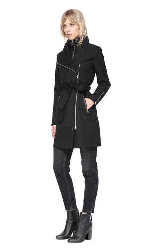 LAST ONE! Assymetric zip trench  by Mackage with puffer removable bib and leather accents - estela