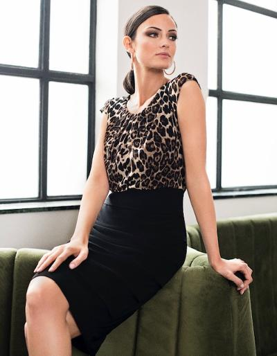 leopard print/black dress