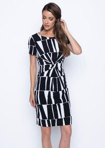 short sleeve geometric print dress