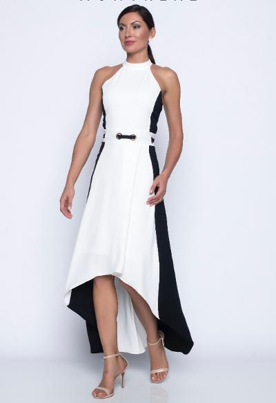 halter maxi hi/lo dress