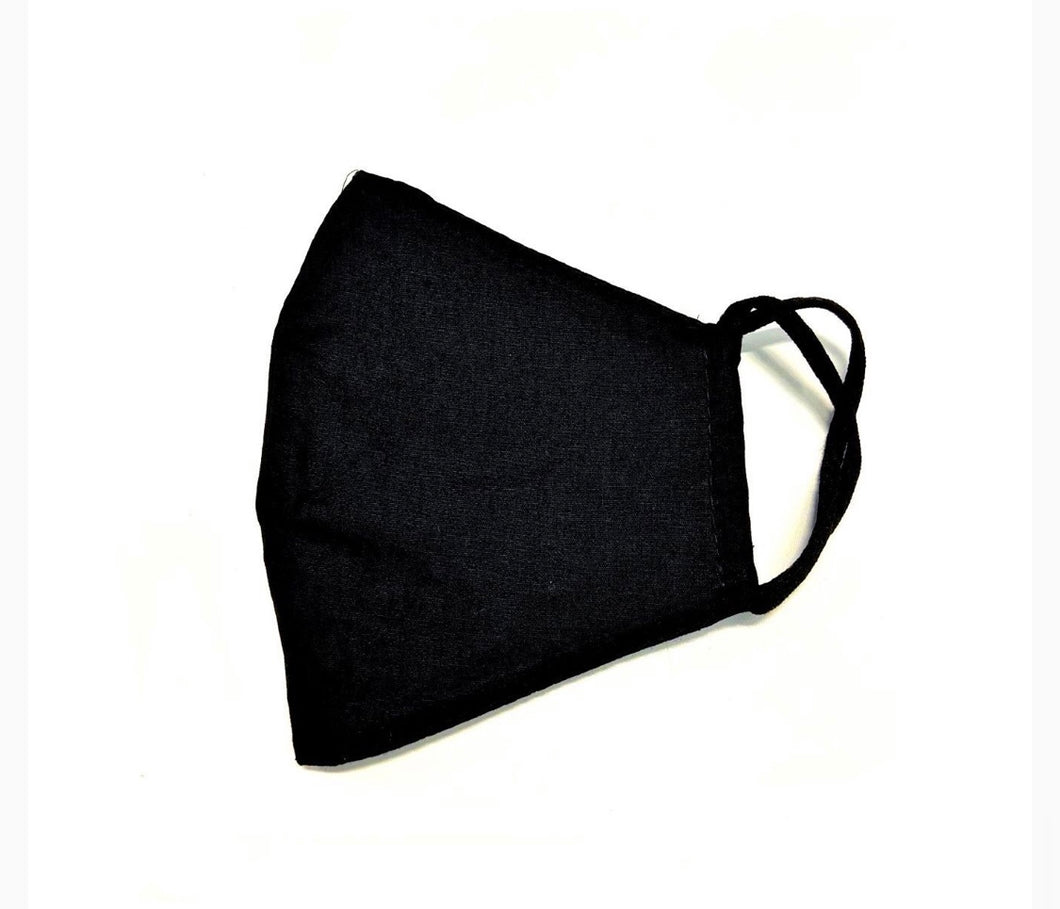 Triple layer black mask with black inside lining 100% cotton