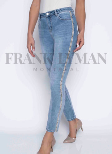 Stretch denim jean with print stripe