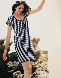 Navy striped cotton dress with scoop neck