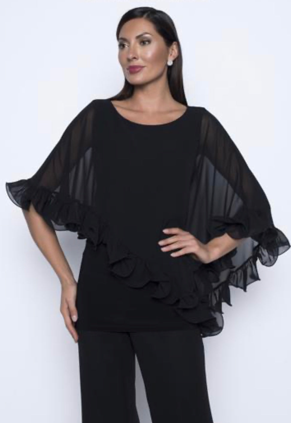 Ruffle edge georgette 2 layer top with jersey tank