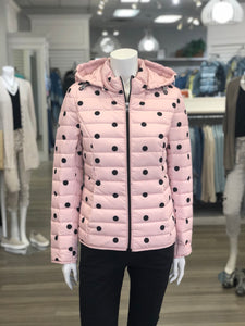 Pale pink/ black dot puffer jacket