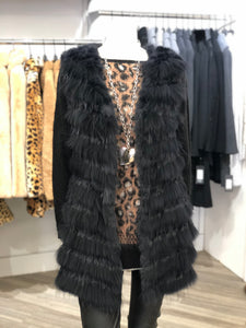 Black fur vest/ mid length
