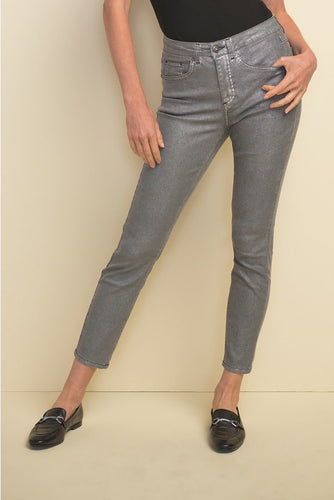 Grey metallic ankle jean with embellishment -211906