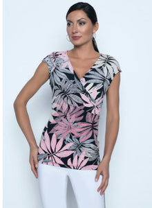 Short sleeve floral print wrap top in stretch jersey