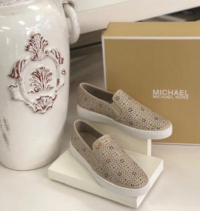 Michael Kors beige perforated leather loafer