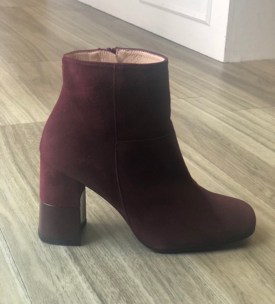 Bordeaux suede patent heel ankle boot
