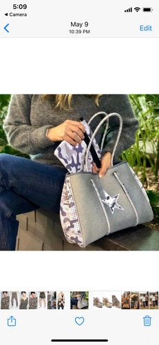 Grey camo/star large neoprene tote