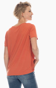 notch front t shirt crepe front cupro back (avail in black, orange/red)