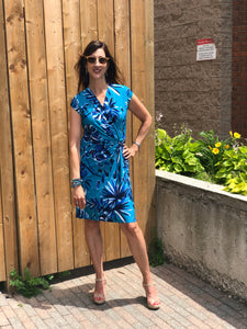 turquoise print wrap dress
