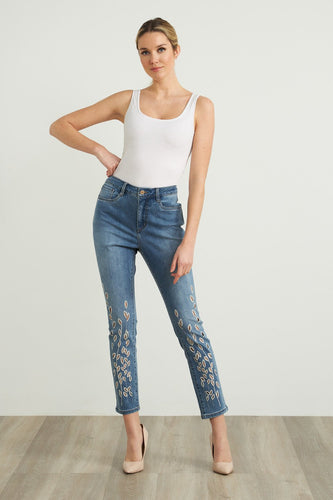 embroid jean white crystal emb-212930