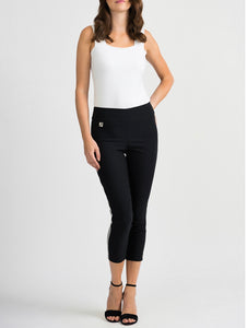 Black ankle pant with white/sparkle side stripe