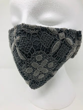 Pewter textured lace mask