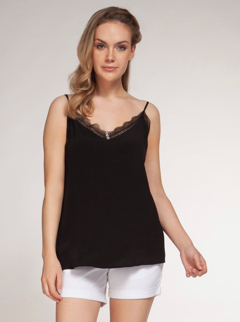 v neck lace and button detail adjustable strap woven easy fit cami