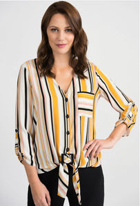 Striped tie front jersey multi colour top
