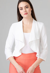 Flutter edge cropped 3/4 sleeve jacket (available in white or black)