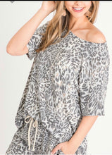 Grey animal print short set