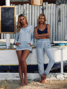 ocean drive variegated cotton picket tunic and jogger set