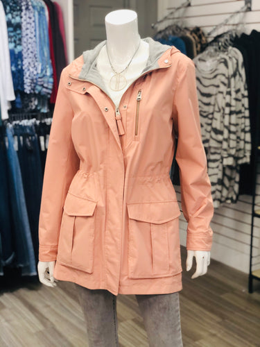LAST ONE! Peach with grey lining hooded anorak by Mackage - rain jkt  -Halllie