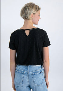 black v neck t shirt with silver detailing and keyhole back