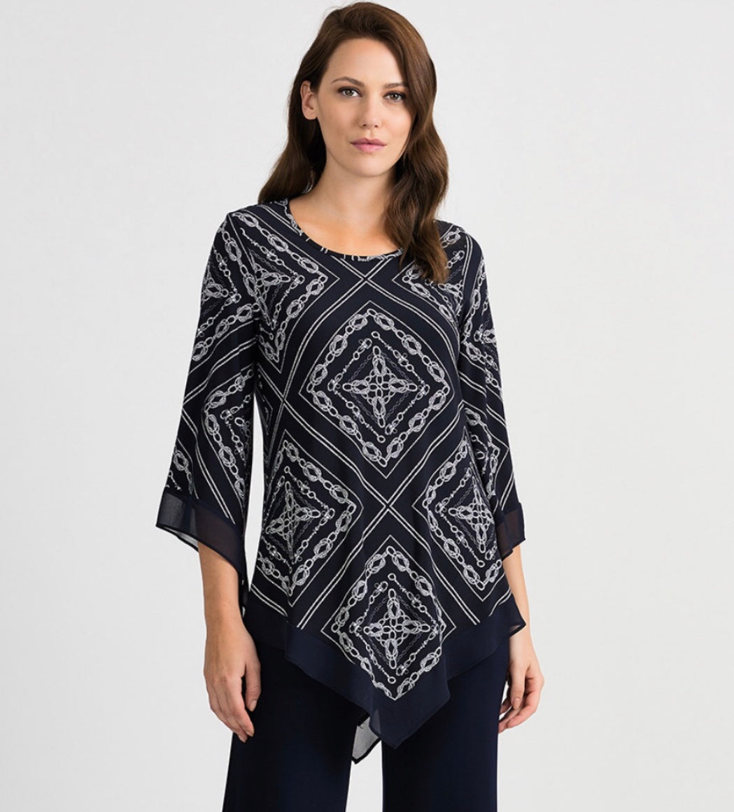 navy/ white print 3/4 sleeve tunic with georgette trim