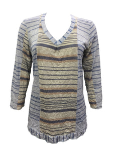 v neck crinkle knit tunic with stripe print