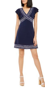Navy contrast print summer dress by Michael Kors