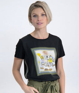 IN fashion M00005 Col black graphic wild flower print ssl t sht