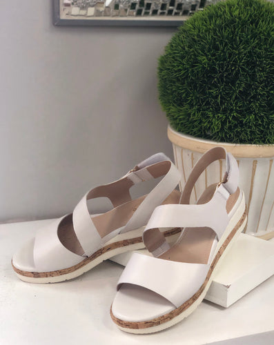asymmetric front low leather wedge sandal