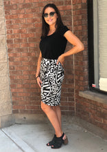Printed faux wrap jersey skirt
