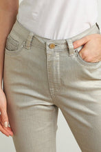 Beige metallic jean with embellishment - 211913