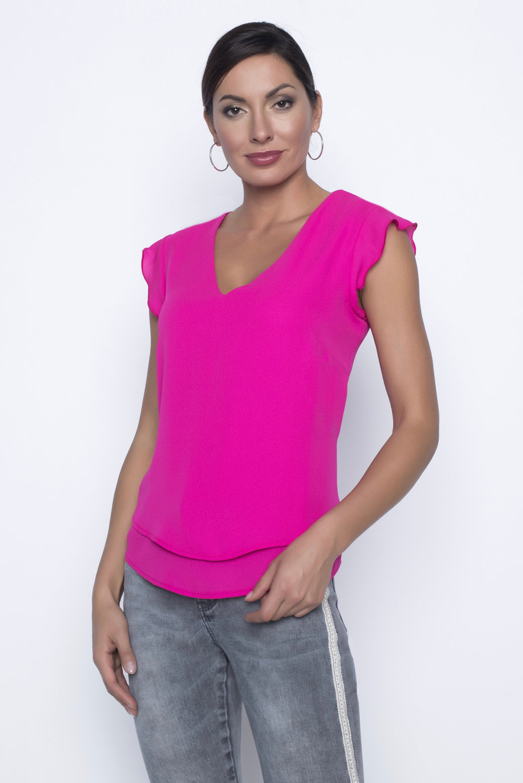 candy pink chiffon top with shoulder