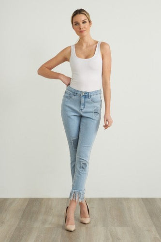 denim ankle jean w glitter patches and fray edge hem-212927