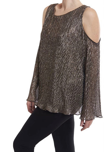copper/blk metallic swingy pleated.   top lined flare. 174833