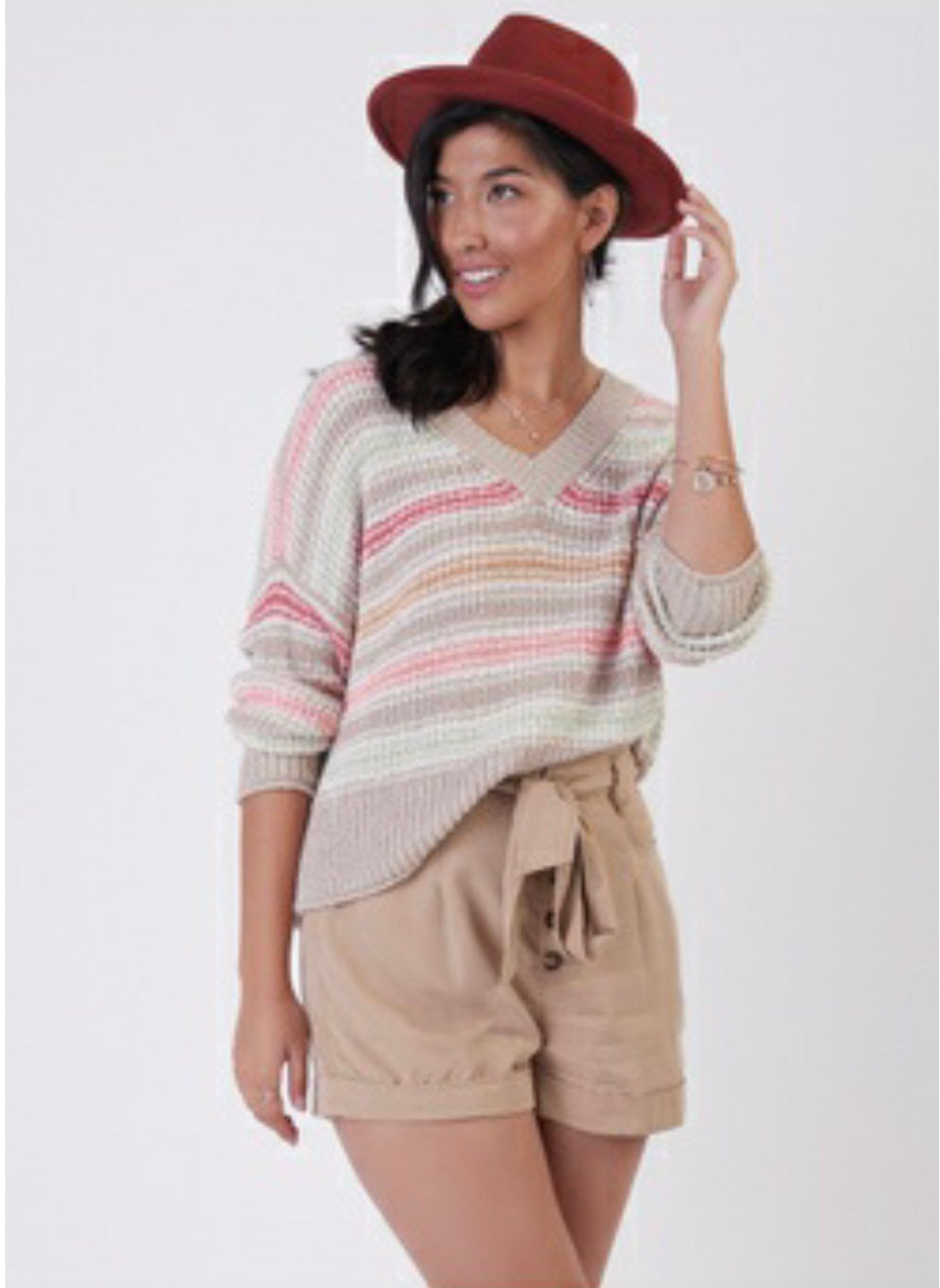 textured multi striped sweater beige/coral  -1727007