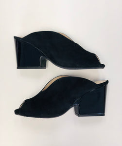 Black suede slip on mule with v front and patent block heel