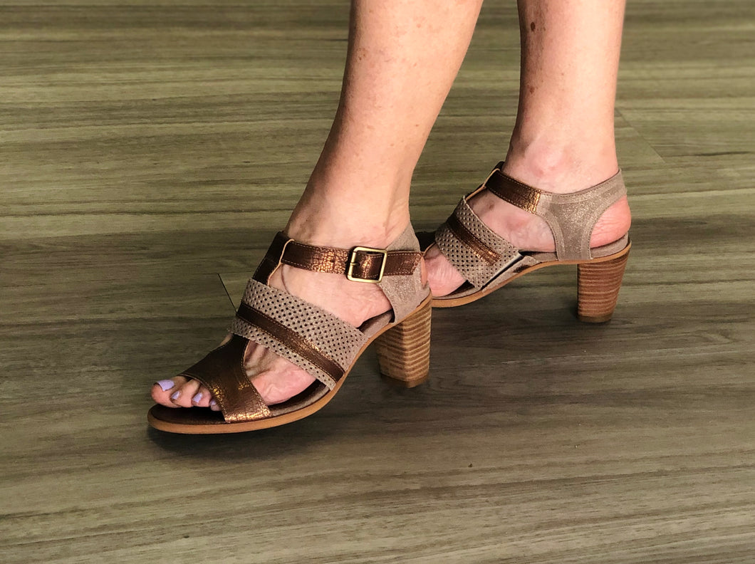 Taupe/bronze leather stacked heel sandal