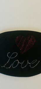 Love with red heart beading black cotton mask