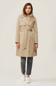 trench coat with removable hood and bib (avail in almond and black)