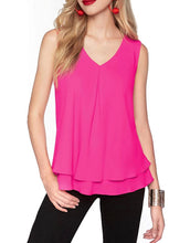 Double layer bottom v neck shell