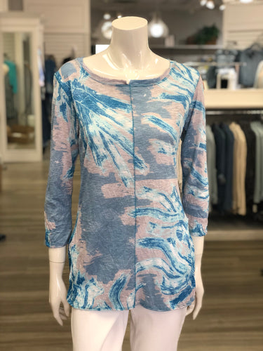 3/4 sl crinkle tunic t-shirt seam front by David Cline
