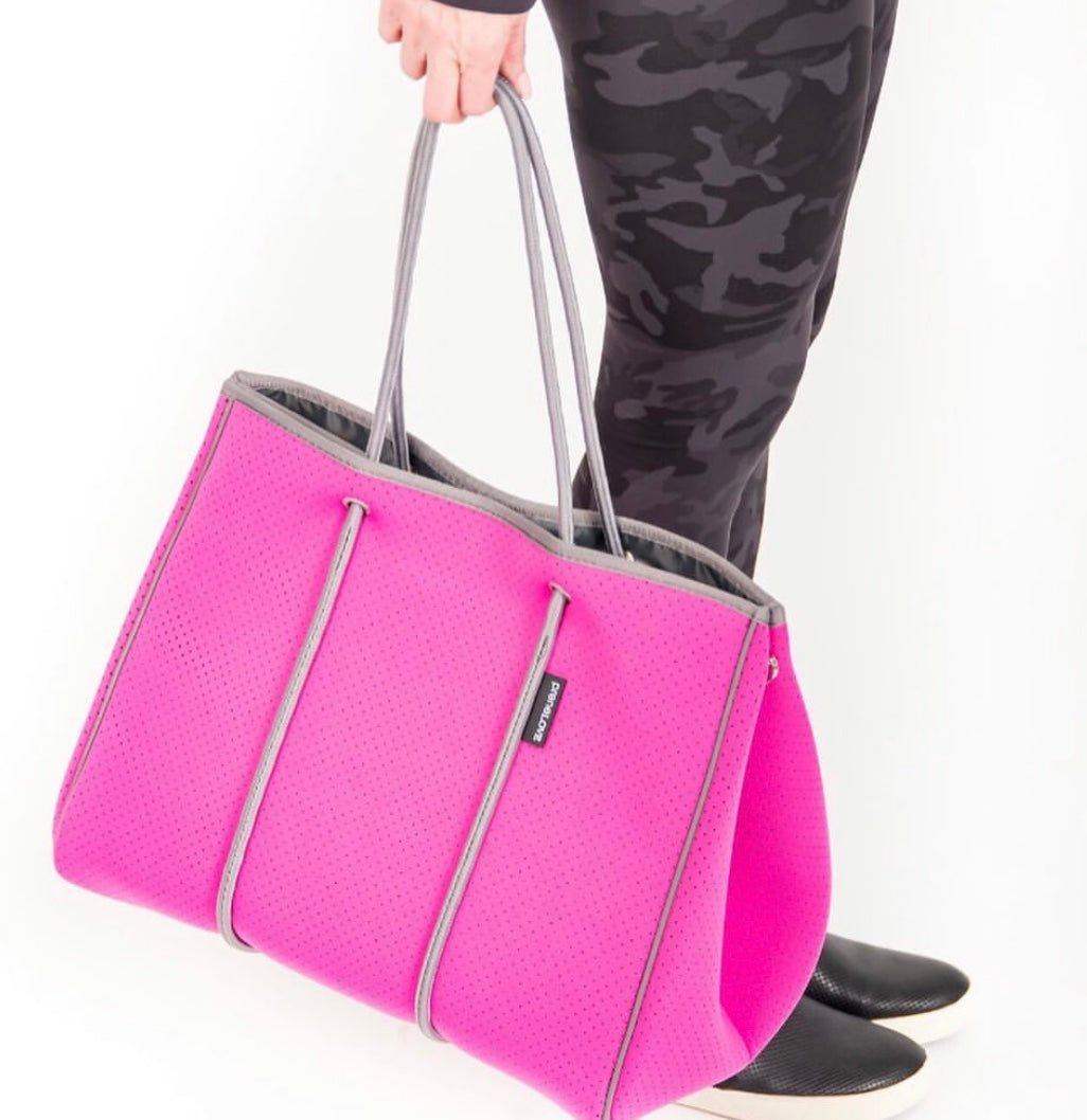 large hot pink neoprene tote