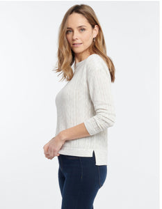 day trip sweater with hi lo hem and boat neck (available in light sky or alabaster)