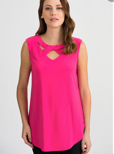 Sleeveless open neck strap detail jersey tunic (avail in black or hot pink)
