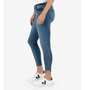 Ankle jean with asymmetric seam and frayed hem - KP0893MA3