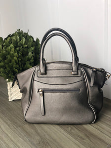 Vegan leather pewter tote with optional shoulder strap  bag-99159-s17